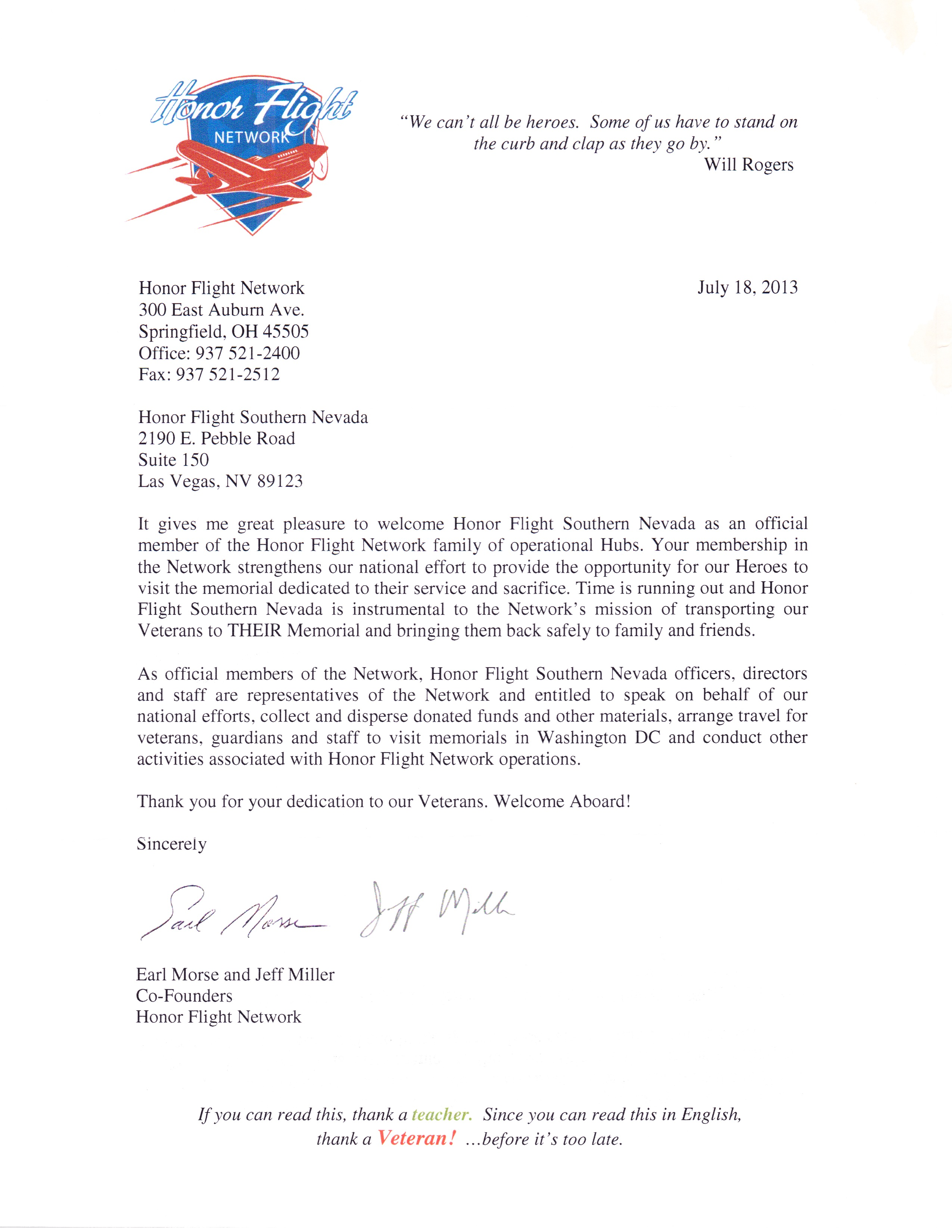 honor flight letter examples honor flight southern nevada home 22133
